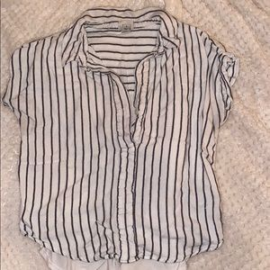 Target black and white stripe half button top